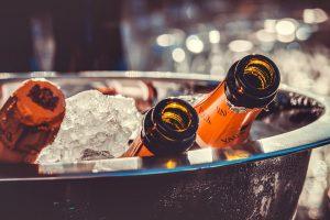 Three champagne bottles.