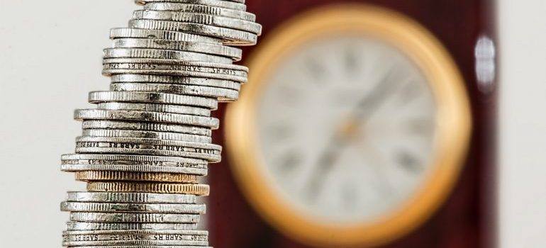 A stack of coins - money is definitely a cause of stress when moving long distance