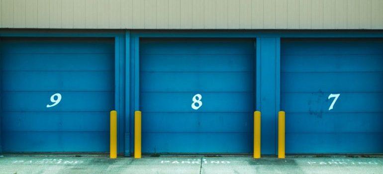 Storage units with blue door