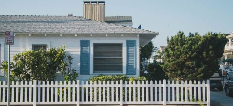 A house with a white picket fence