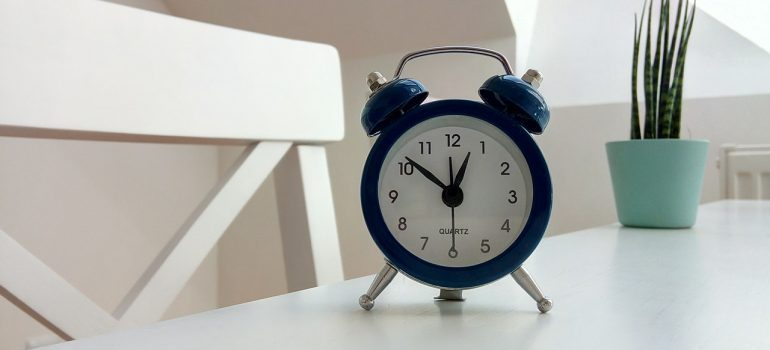 clock on a table