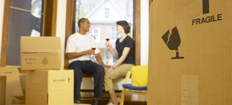 Couple waiting for packing services Denver