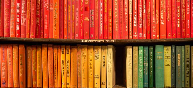 storing books and paperwork in Denver that are red and yellow