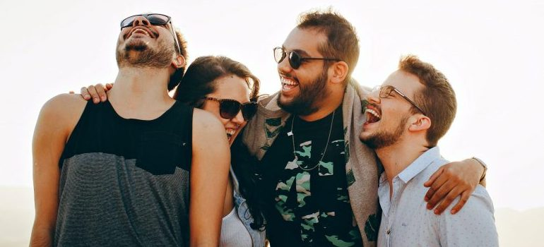 four-friends-laughing