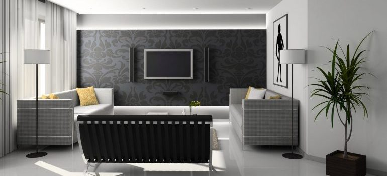 room with a black wall