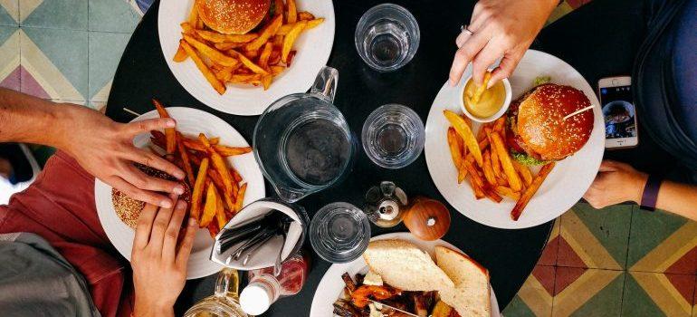 burgers in restaurant