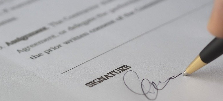 a signature on a contract