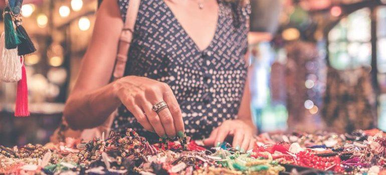 woman selecting jewelry