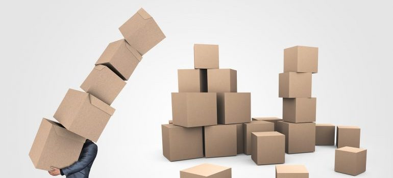 A man carring boxes