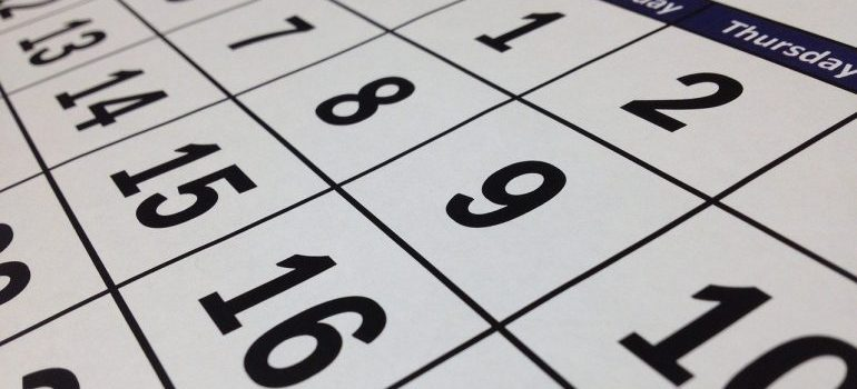 Number and days in a calendar