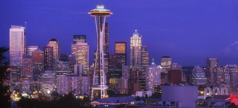 Seattle skyline, at night