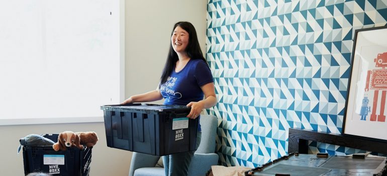 a woman in the middle of a local Seattle relocation