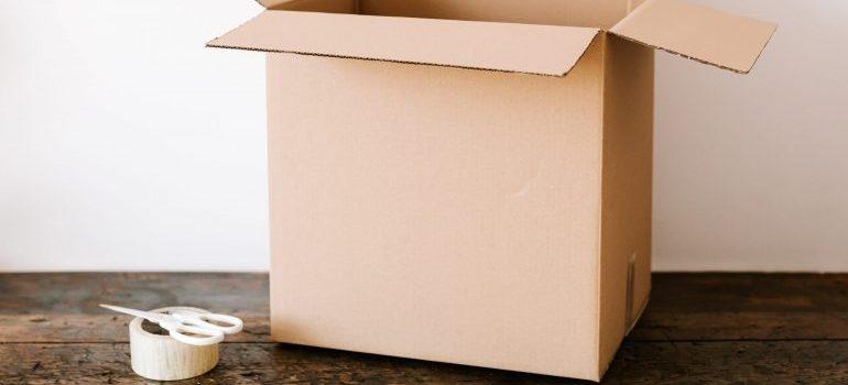 cardboard box on the table