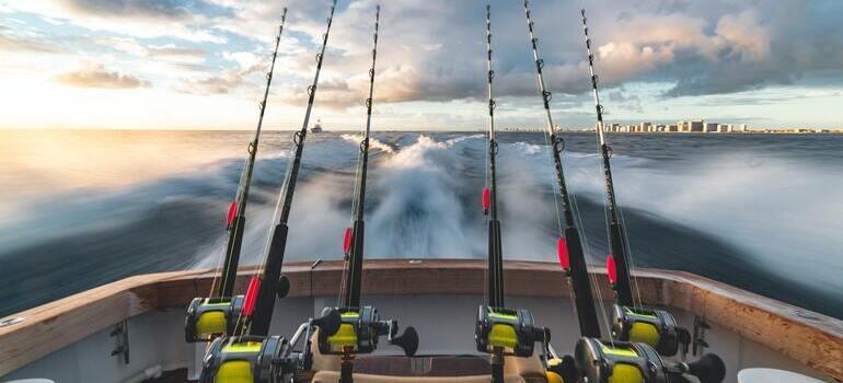 six fishing rods