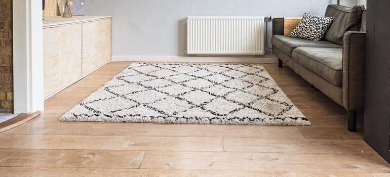 white carpet on the wooden floor