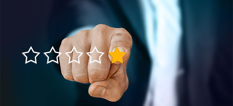 a finger leaving a one star rating