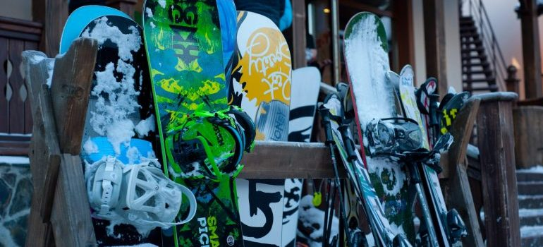 Snowboards in line