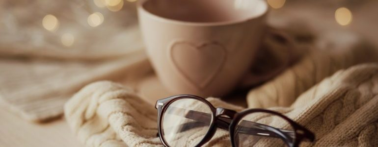 warm coffee and glasses