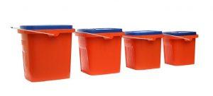 Four red plastic bins