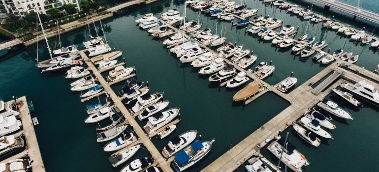 boats stored in the marina