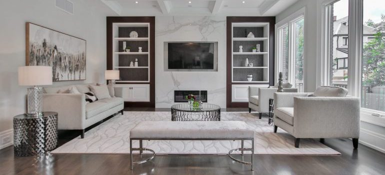 living room with white furniture