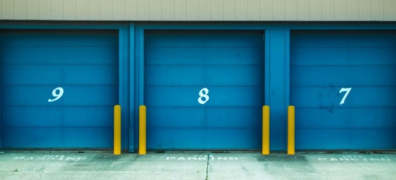storage unit facility with blue doors