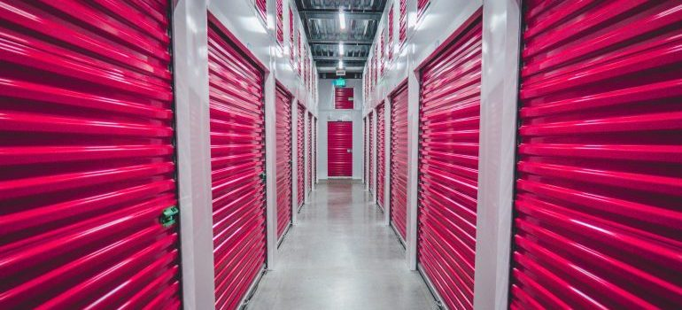 indoor storage with red shutters