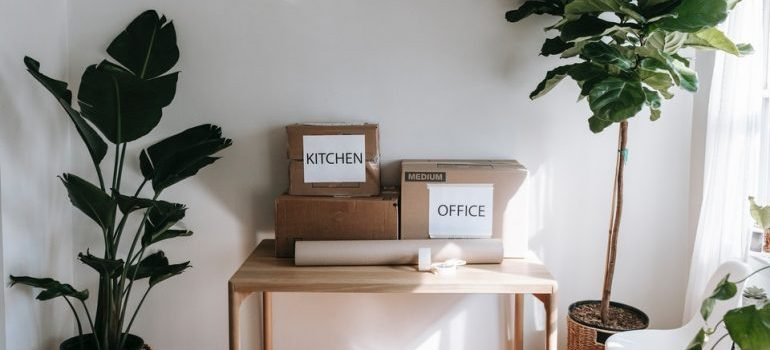 labeled moving boxes sitting on a table