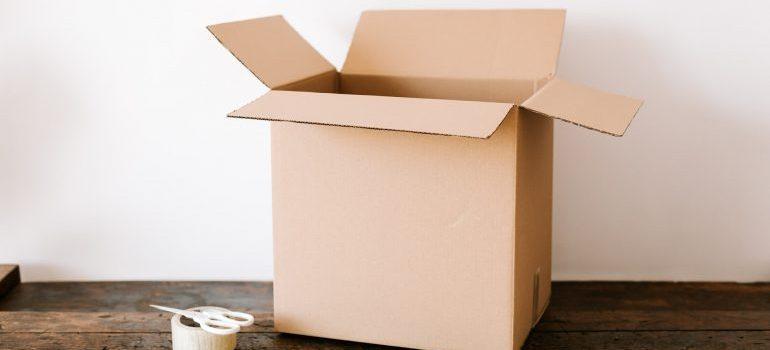 Opened cardboard box on the floor