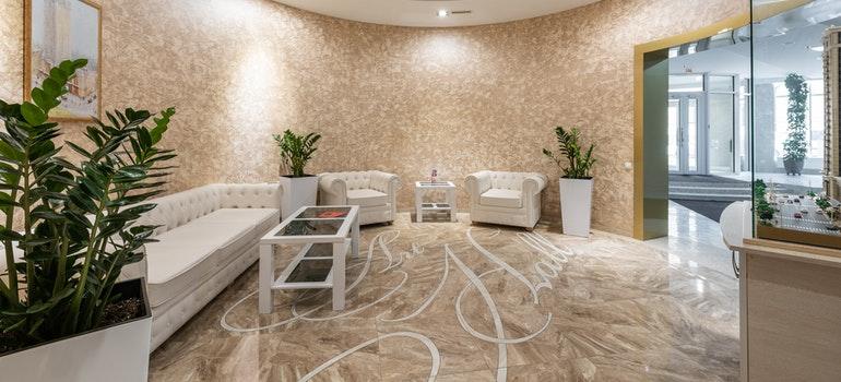 Spacious lobby in hotel