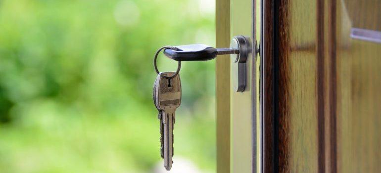 A key in a door lock