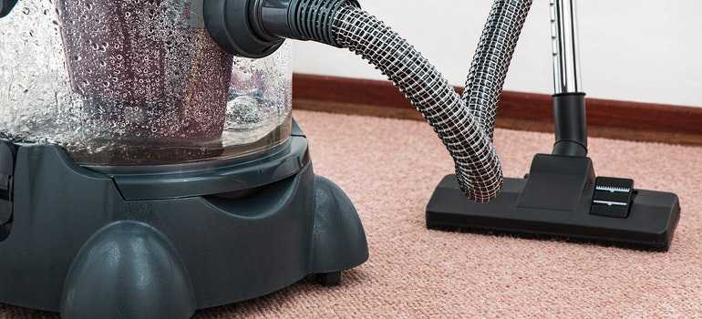 A vacuum cleaner full of water