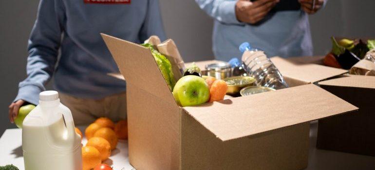 People packing food
